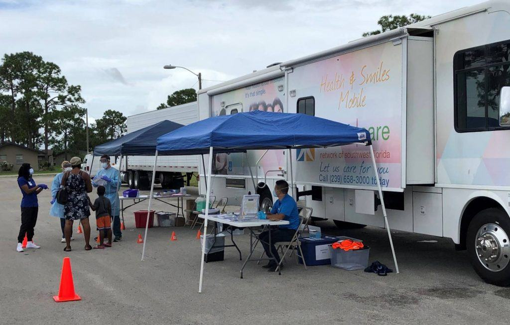 Healthcare Network COVID-19 Response Team conducting COVID-19 testing in Immokalee