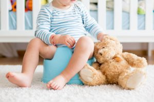 Toddler potty training with stuffed animal
